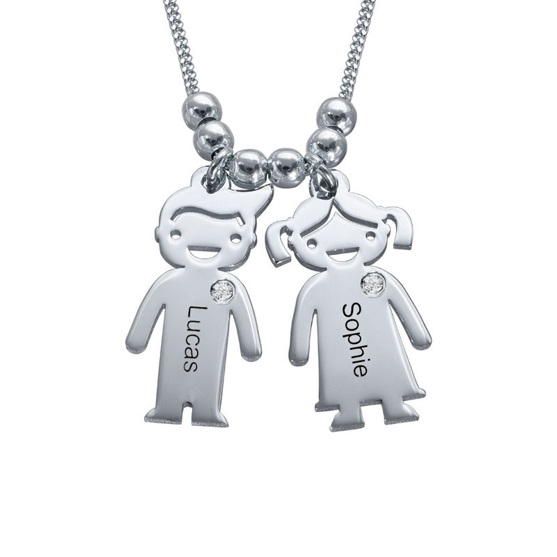 Kids Charms Mother Necklace in Sterling Silver with Diamond