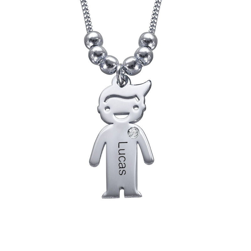 Kids Charms Mother Necklace in Sterling Silver with Diamond - 1