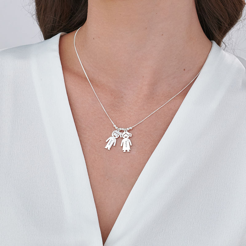 Kids Charms Mother Necklace in Sterling Silver with Diamond - 3