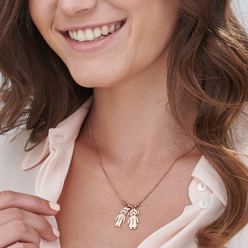 Kids Charms Mother Necklace in Rose Gold Plating with Diamond - 3