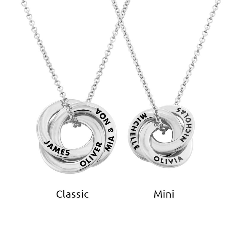 Russian Ring Necklace in Silver - 3D Design - 3