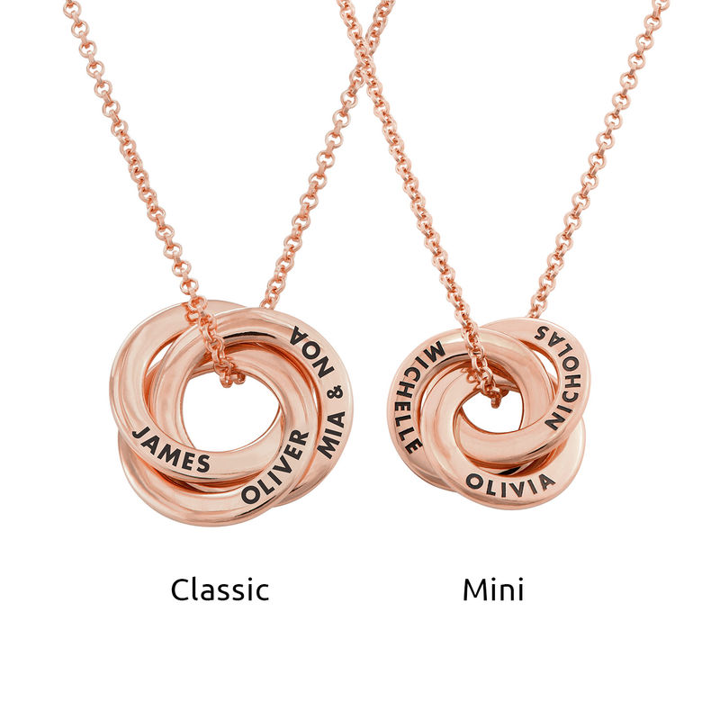 Russian Ring Necklace in Silver Rose Gold Plated - 3D Design - 3