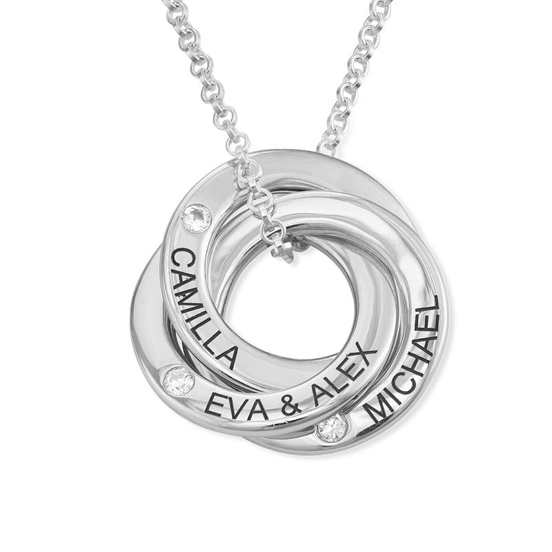 Russian Ring Necklace in Silver with Cubic  Zirconia Stones