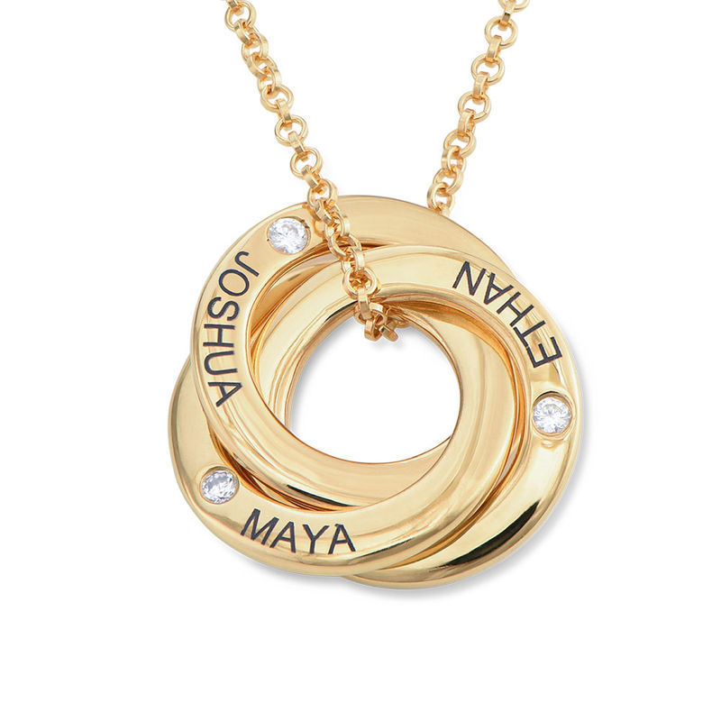 Russian Ring Necklace in Silver Gold Plated with Cubic  Zirconia  Stones