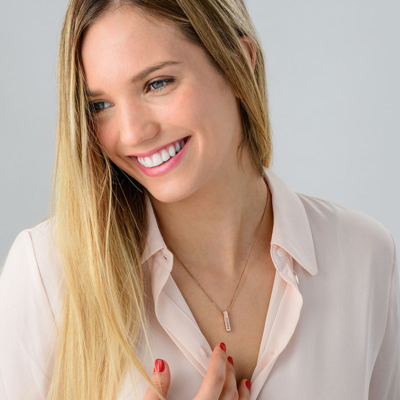 Short 3D Necklace Bar in Rose Gold Plated - 5