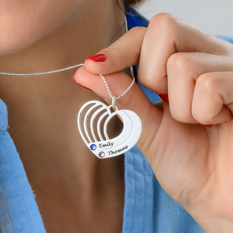 Engraved Heart Necklace in Silver - 3