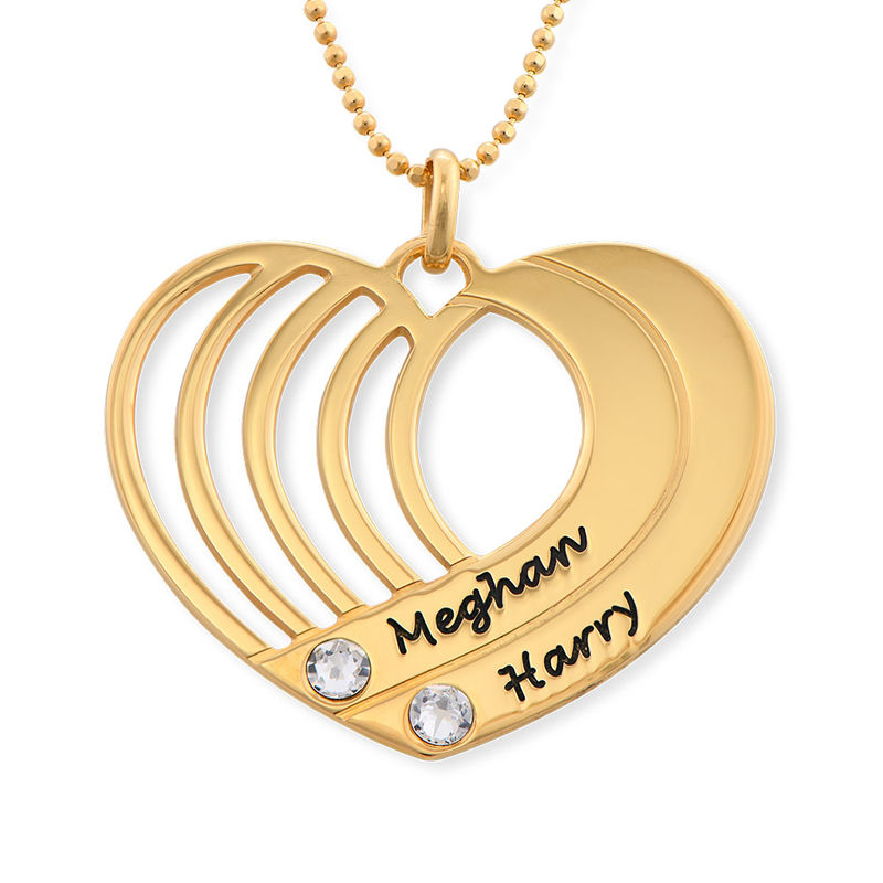 Engraved Heart Necklace in Gold Plated - 1