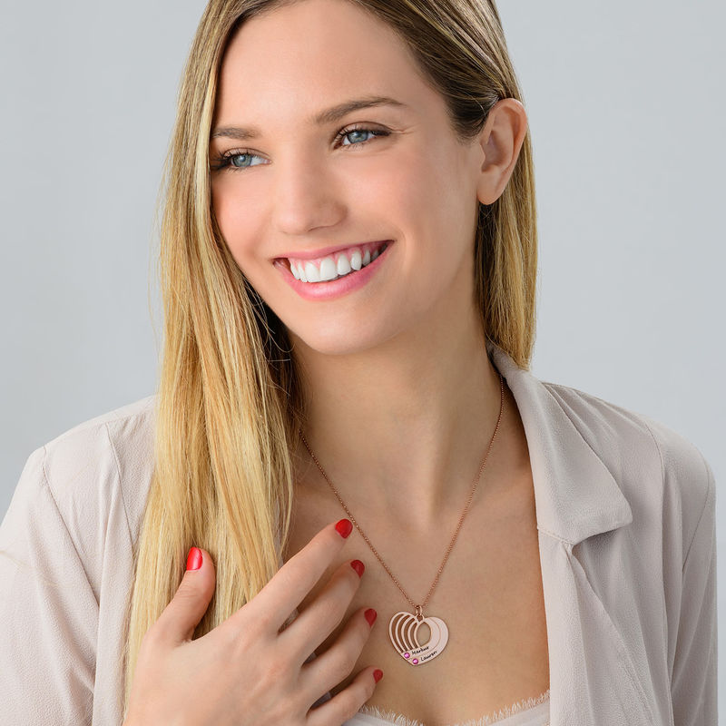 Engraved Heart Necklace in Rose Gold Plated - 3