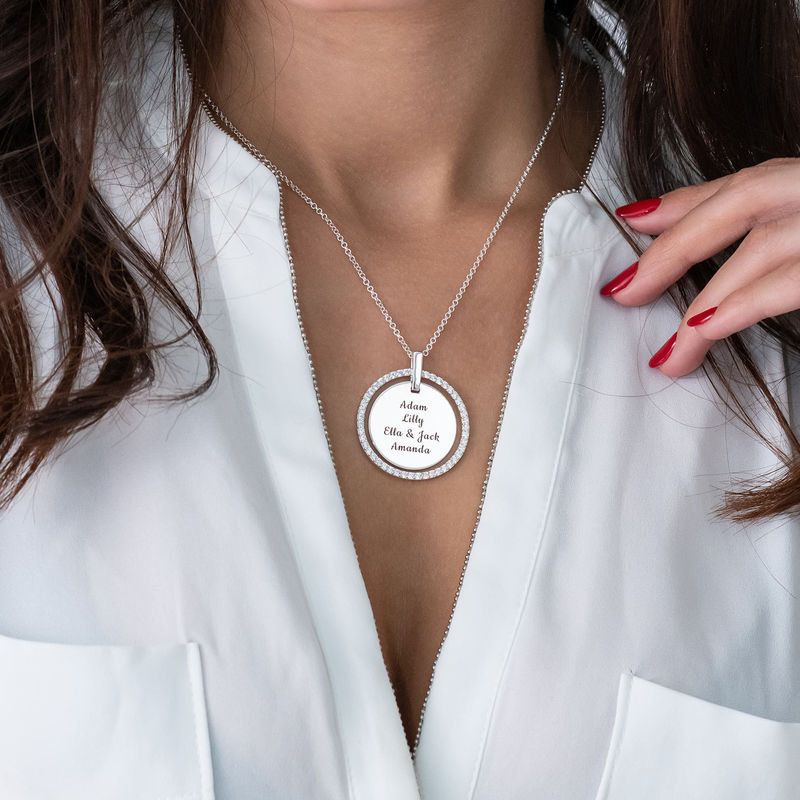 Engraved Disc Necklace in Silver - 2
