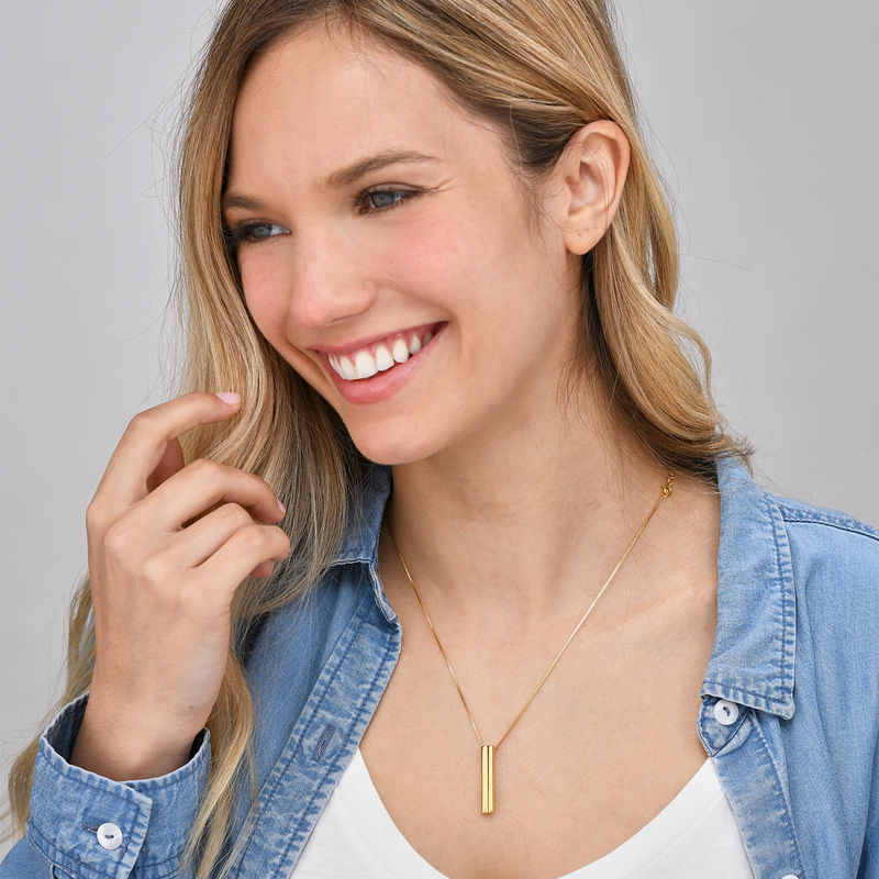 Heart Shaped 3D Bar Necklace- Gold Plated - 3