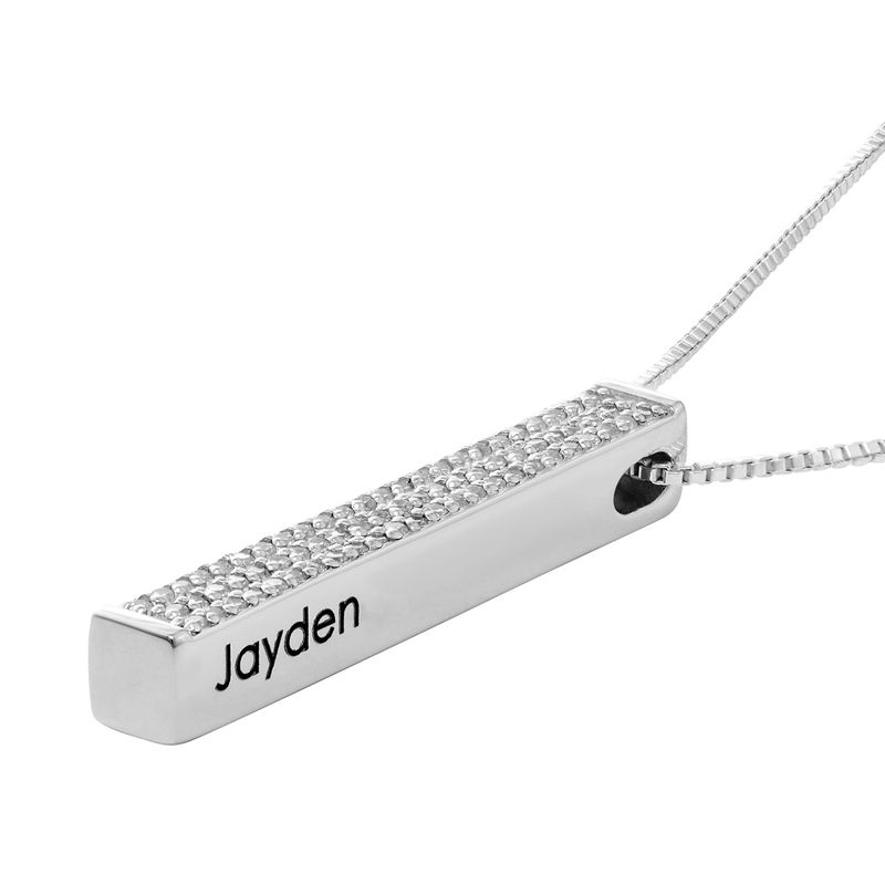 Vertical 3D Bar Necklace with Cubic Zirconia in Silver - 1