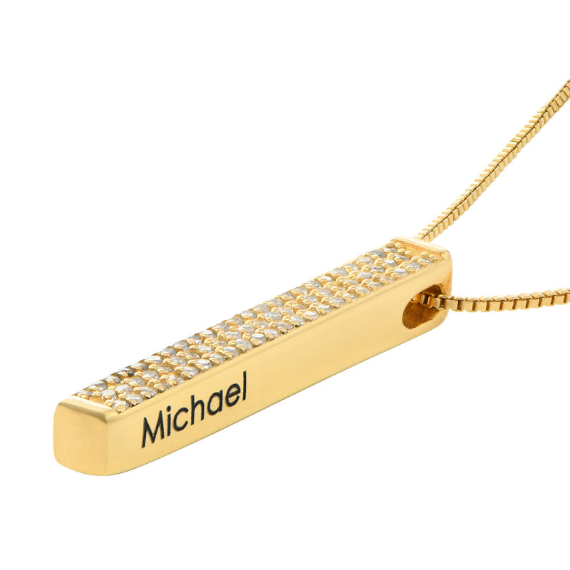 Vertical 3D Bar Necklace with Cubic Zirconia in Gold Plating - 1