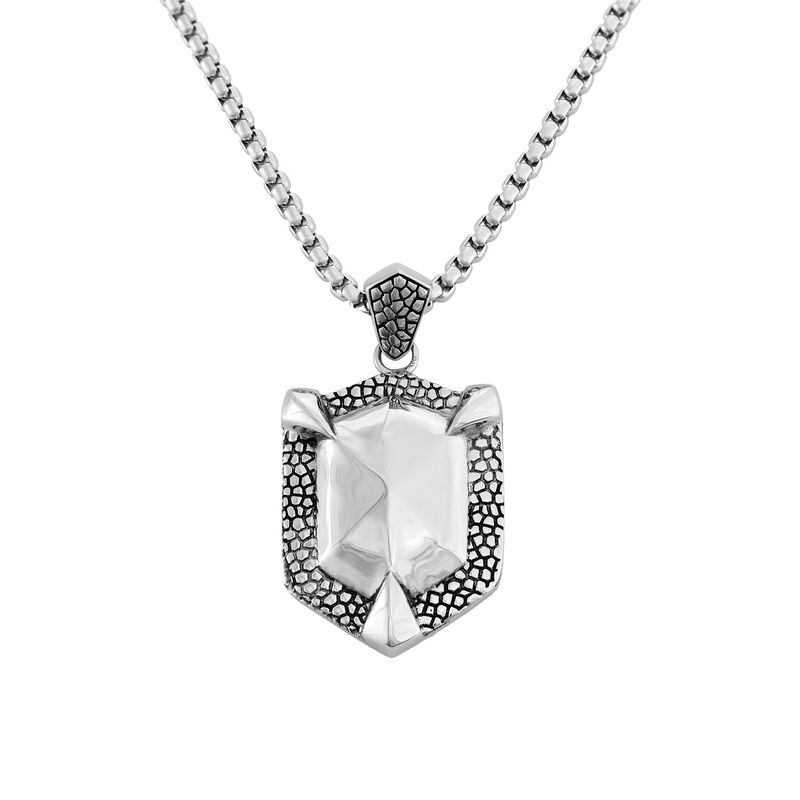 Engraved Shield Necklace for Men