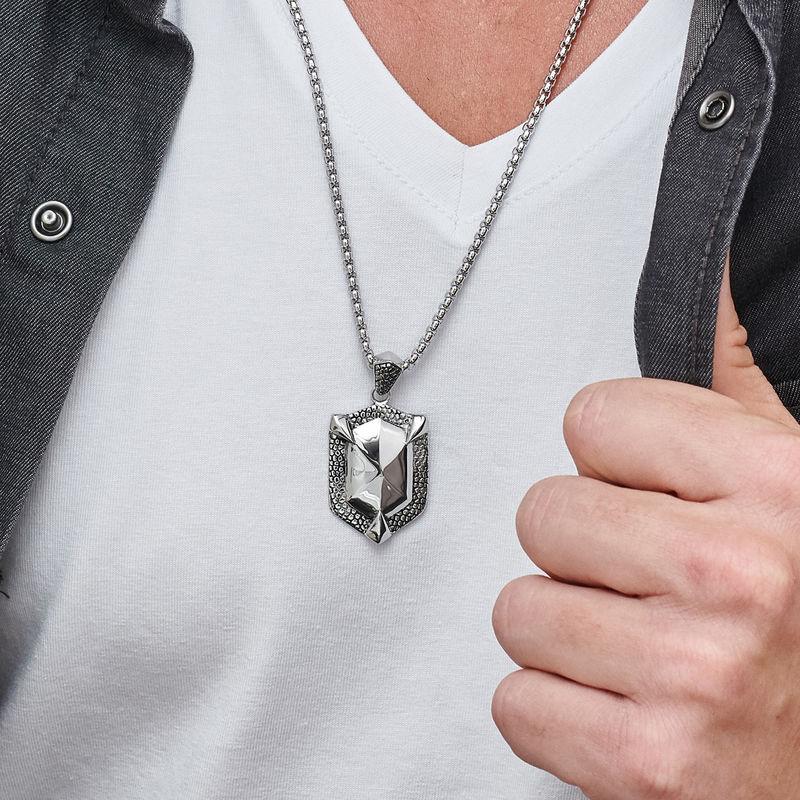 Engraved Shield Necklace for Men - 3