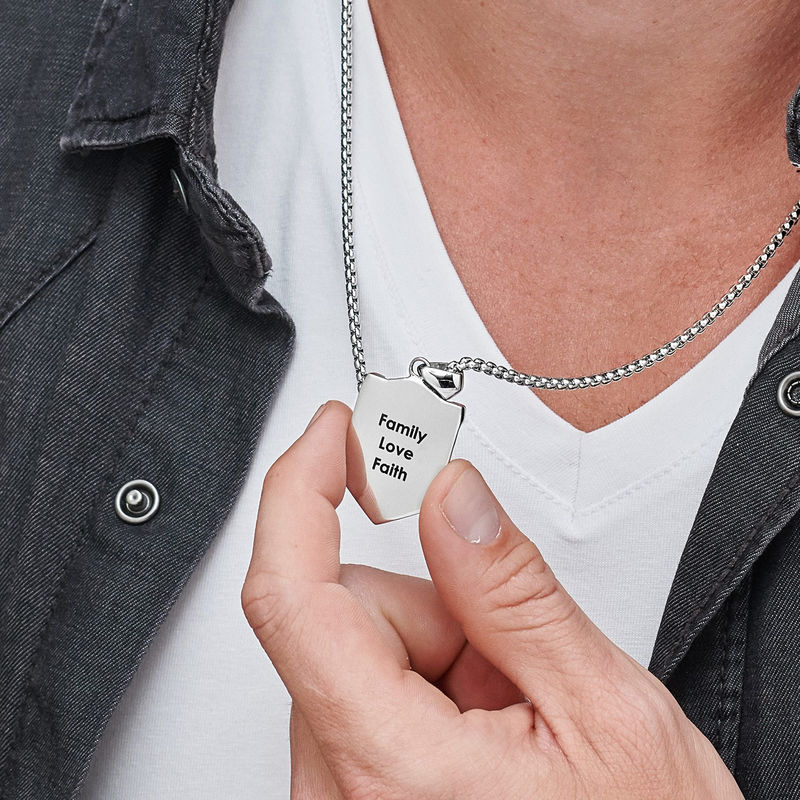 Engraved Shield Necklace for Men - 4