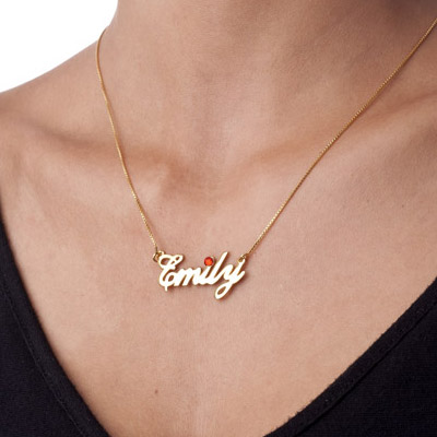 18ct Gold-Plated Silver and Birthstone Name Necklace - 1