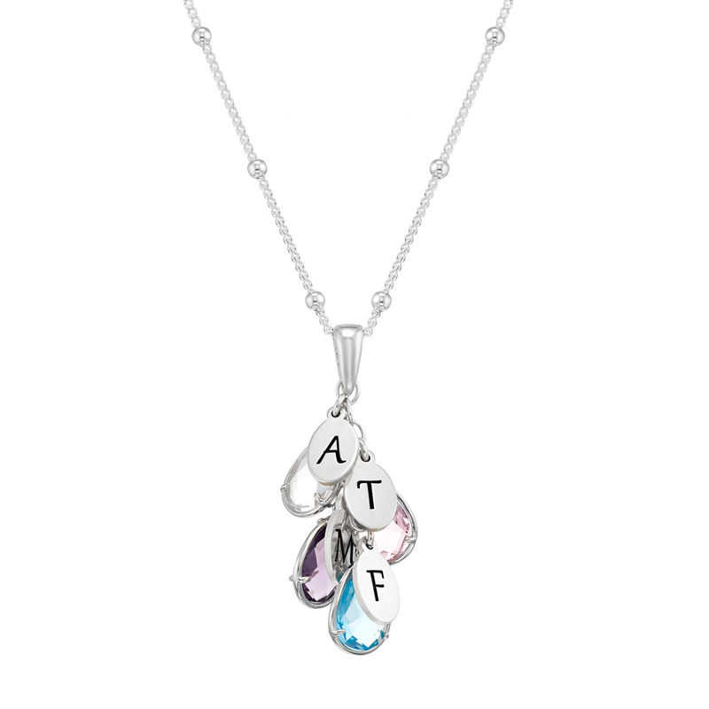 Custom Birthstone Drop Necklace for Mum in Silver
