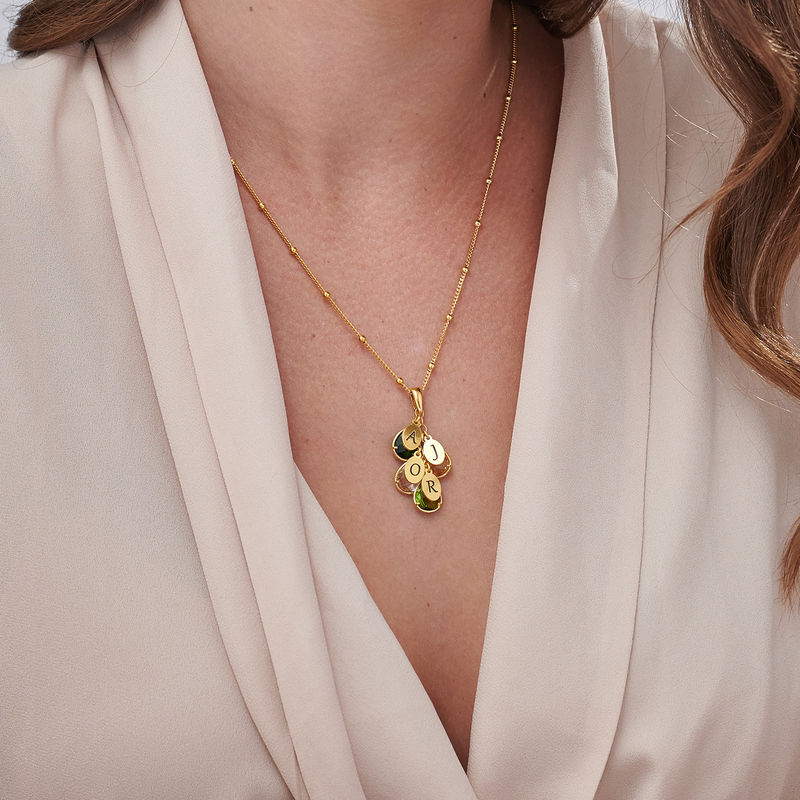 Custom Birthstone Drop Necklace for Mum in 18ct Gold Vermeil - 2