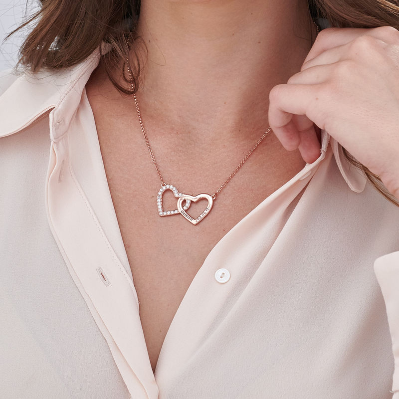 Engraved Double Heart Necklace in Rose Gold Plating - 2