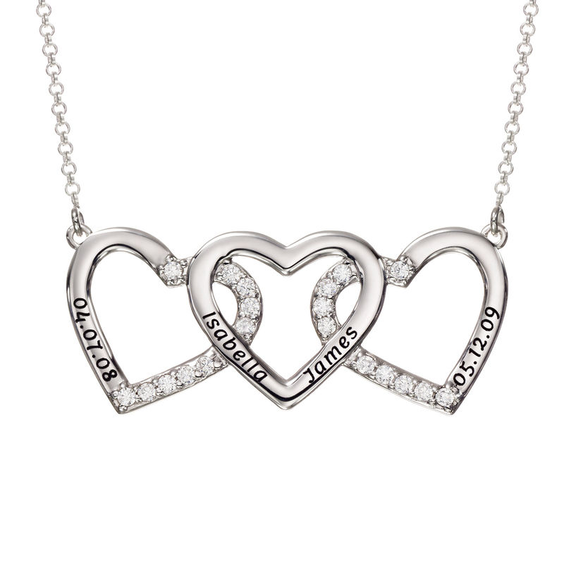 Engraved 3 Hearts Pendant Necklace in Silver