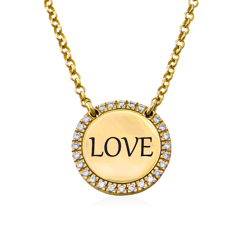 Personalised Round Cubic Zirconia Necklace in Gold Plating - 1