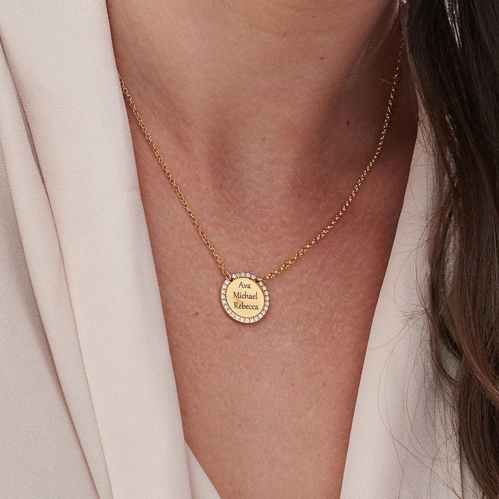 Personalised Round Cubic Zirconia Necklace in Gold Plating - 4
