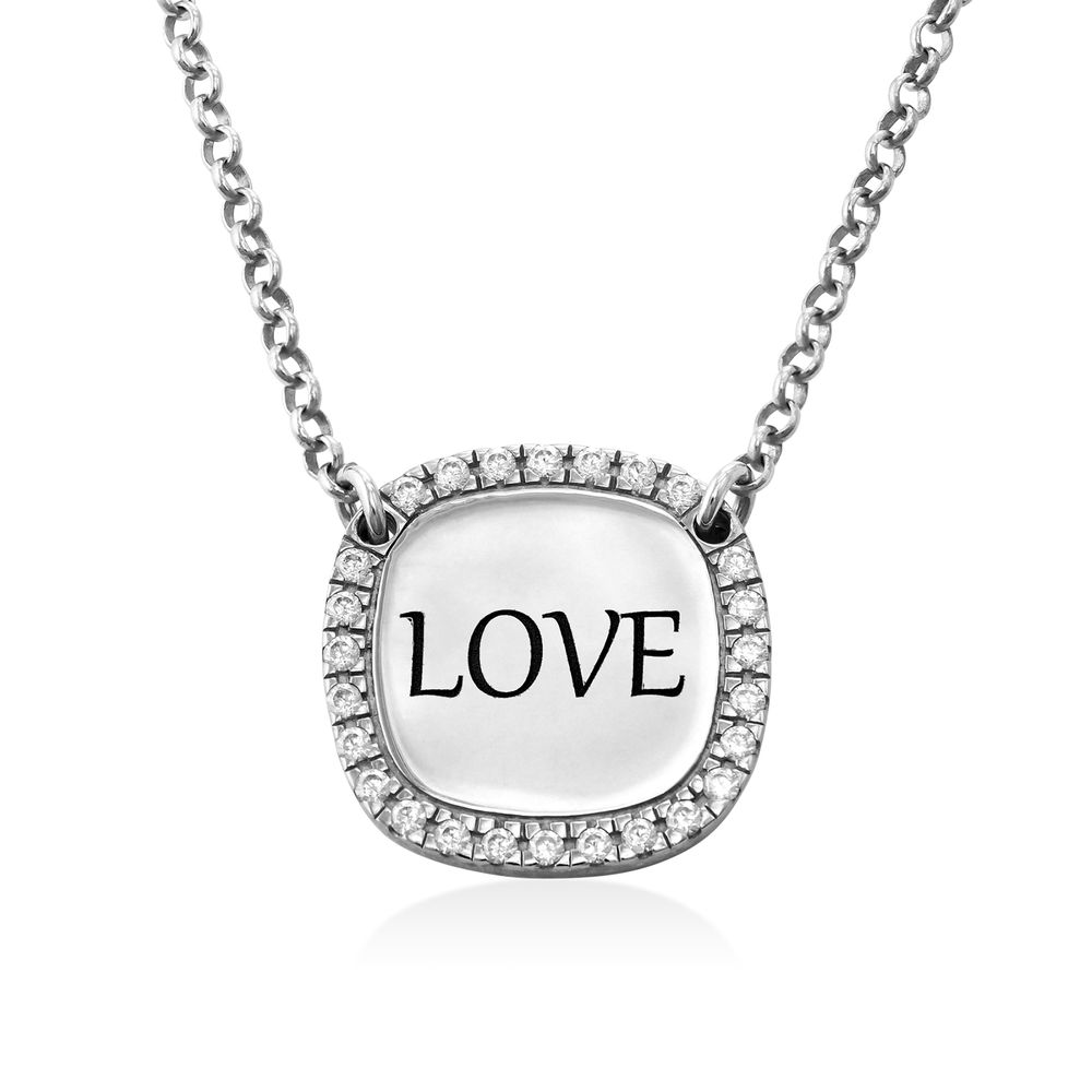 Personalised Square Cubic Zirconia Necklace in Silver
