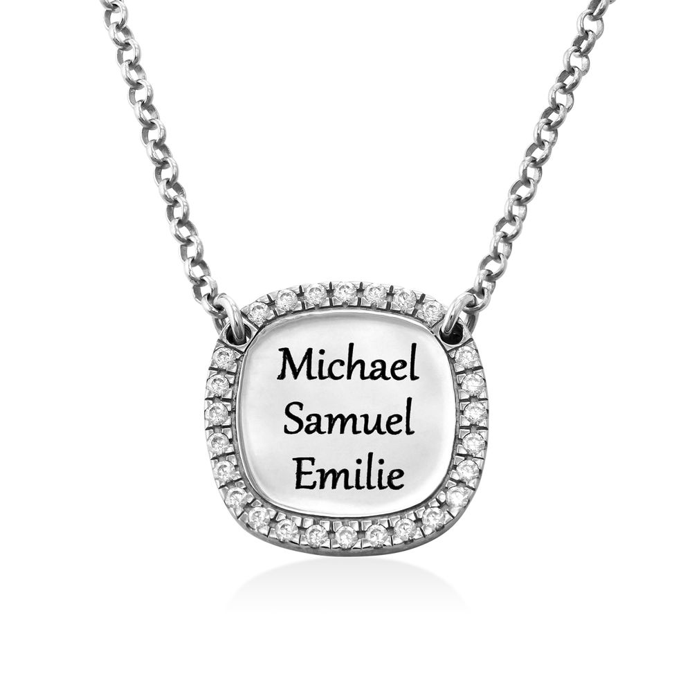 Personalised Square Cubic Zirconia Necklace in Silver - 2