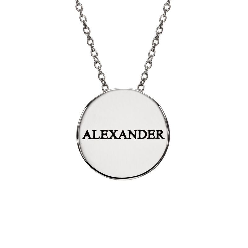 Custom Thick Disc Necklace in Sterling Silver