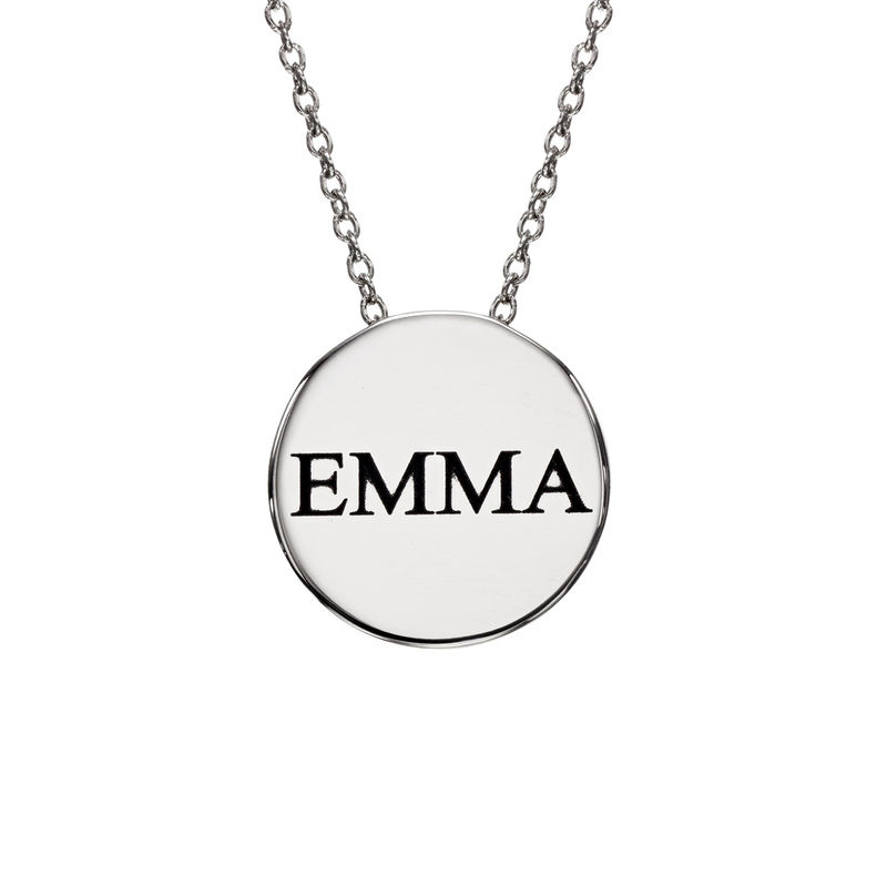 Custom Thick Disc Necklace in Sterling Silver - 1