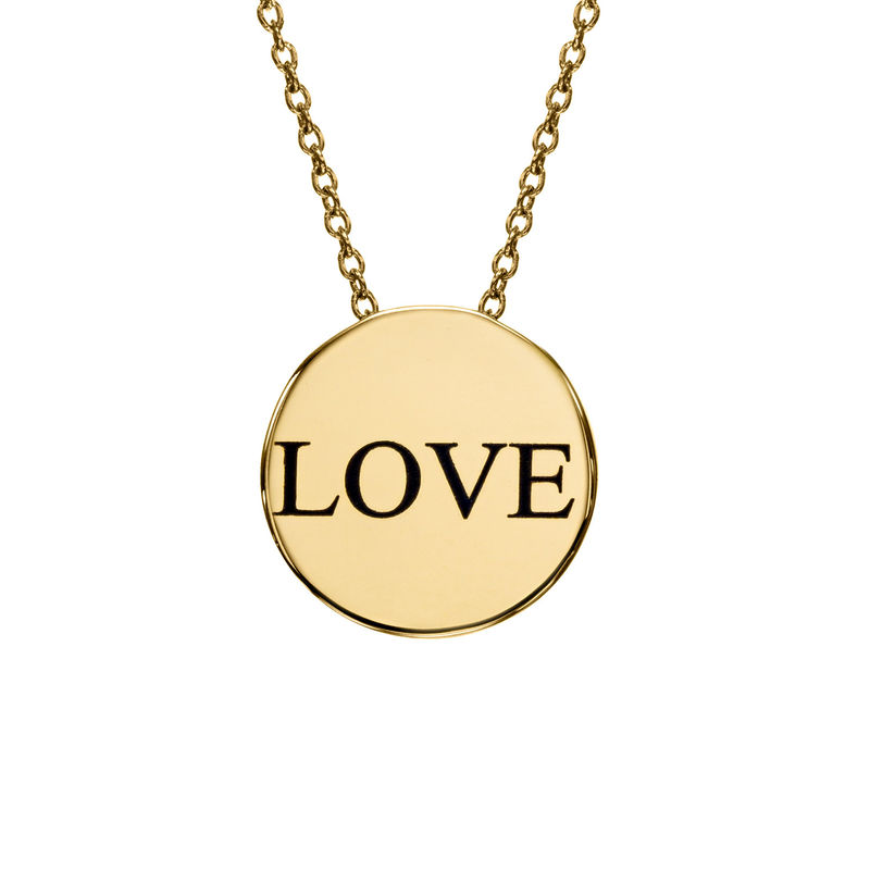 Custom Thick Disc Necklace in Gold Plating - 1