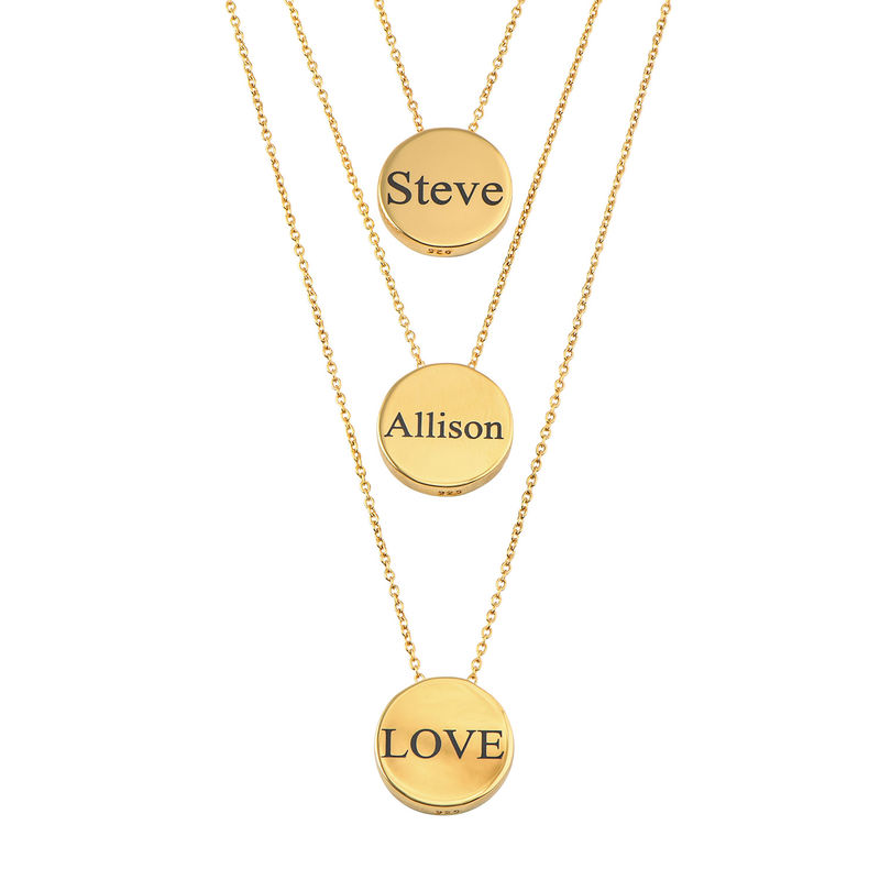 Custom Thick Disc Necklace in Gold Plating - 2