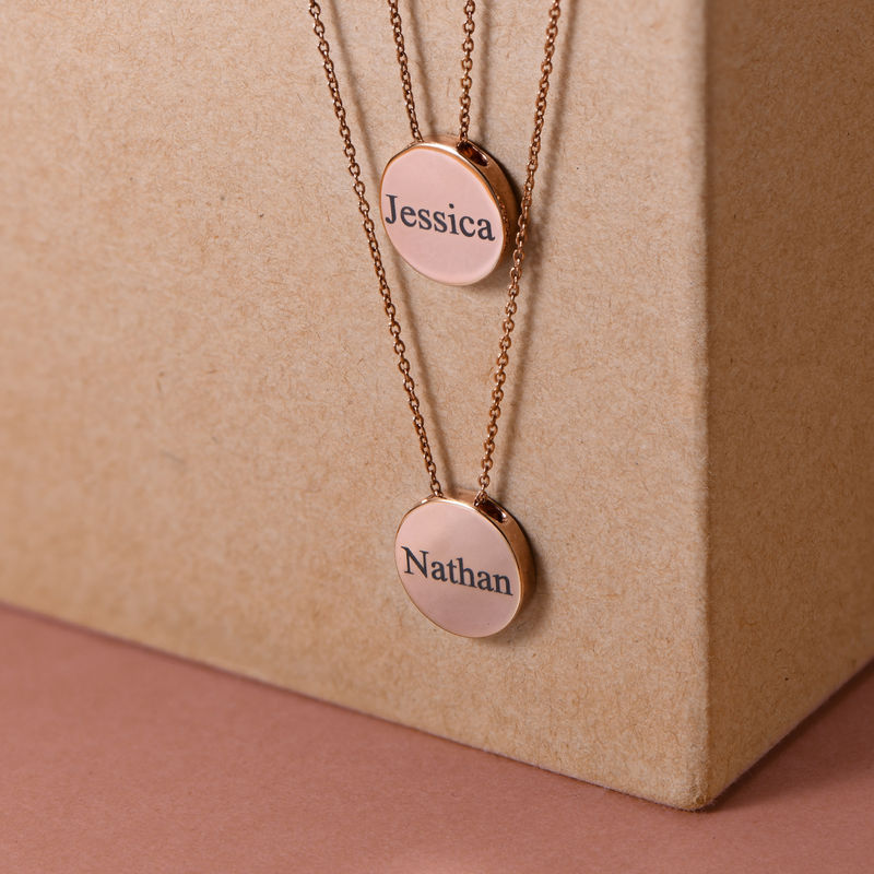 Custom Thick Disc Necklace in Rose Gold Plating - 3