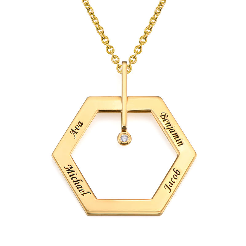 Personalised Engraved Hexagon Necklace in Gold Plating with Diamond