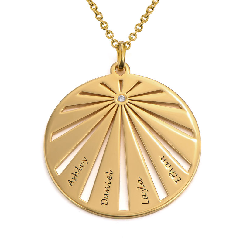 Engraved Circle Family Necklace with Diamond in Gold Plating
