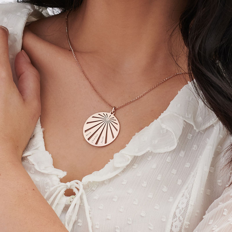 Engraved Circle Family Necklace with Diamond in Rose Gold Plating - 3