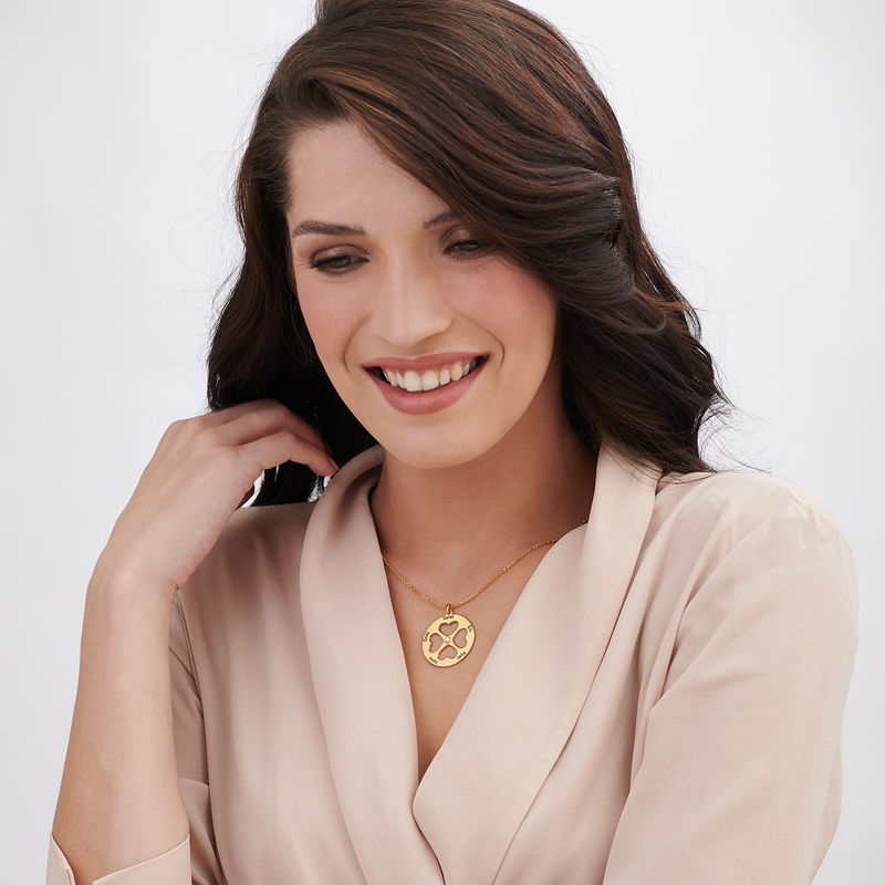 Four Leaf Clover Heart Necklace in Gold Plating - 3