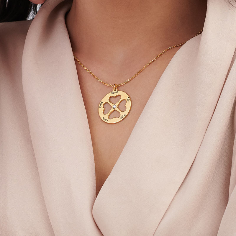 Four Leaf Clover Heart Necklace in Gold Plating - 4