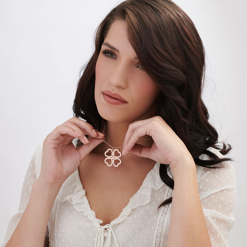 Four Leaf Clover Heart Necklace with Diamonds in Rose Gold Plating - 2