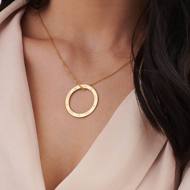 Engraved Family Circle Necklace for Mum in Gold Plating - 3