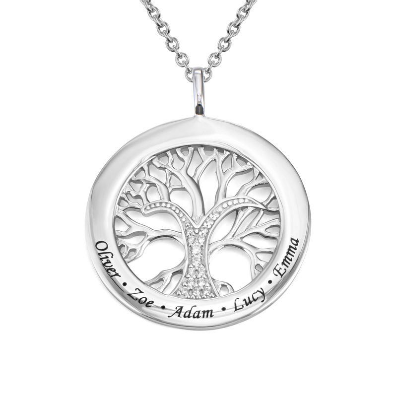Family Tree Circle Necklace with Cubic Zirconia in Sterling Silver