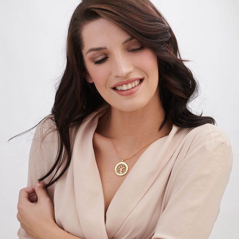 Family Tree Circle Necklace with Cubic Zirconia in Gold Plating - 2