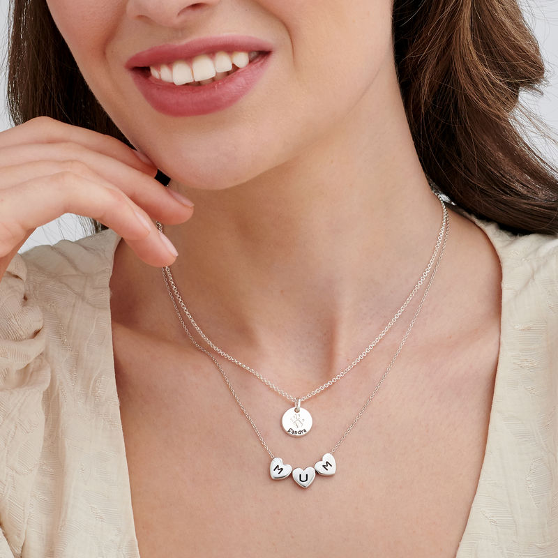 Initial Hearts Stackable Necklace in Sterling Silver - 4
