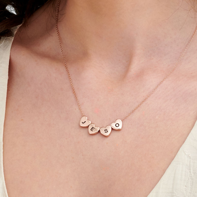 Initial Hearts Stackable Necklace in Rose Gold Plating - 2