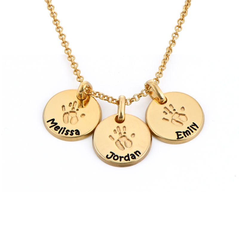 Baby Hand Engraved Charm Necklace in Gold Plating - 1