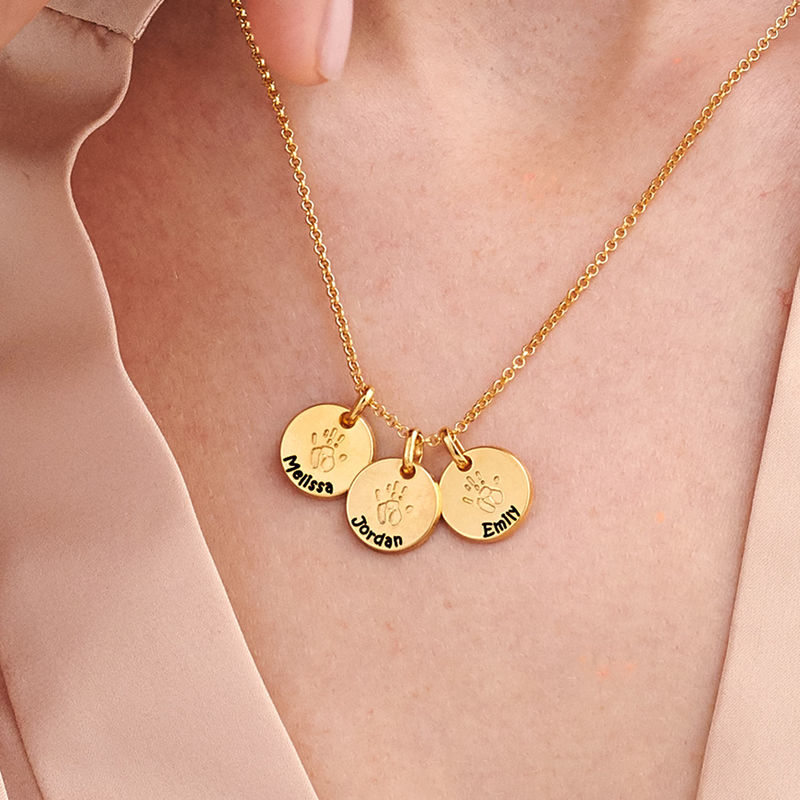 Baby Hand Engraved Charm Necklace in Gold Plating - 3