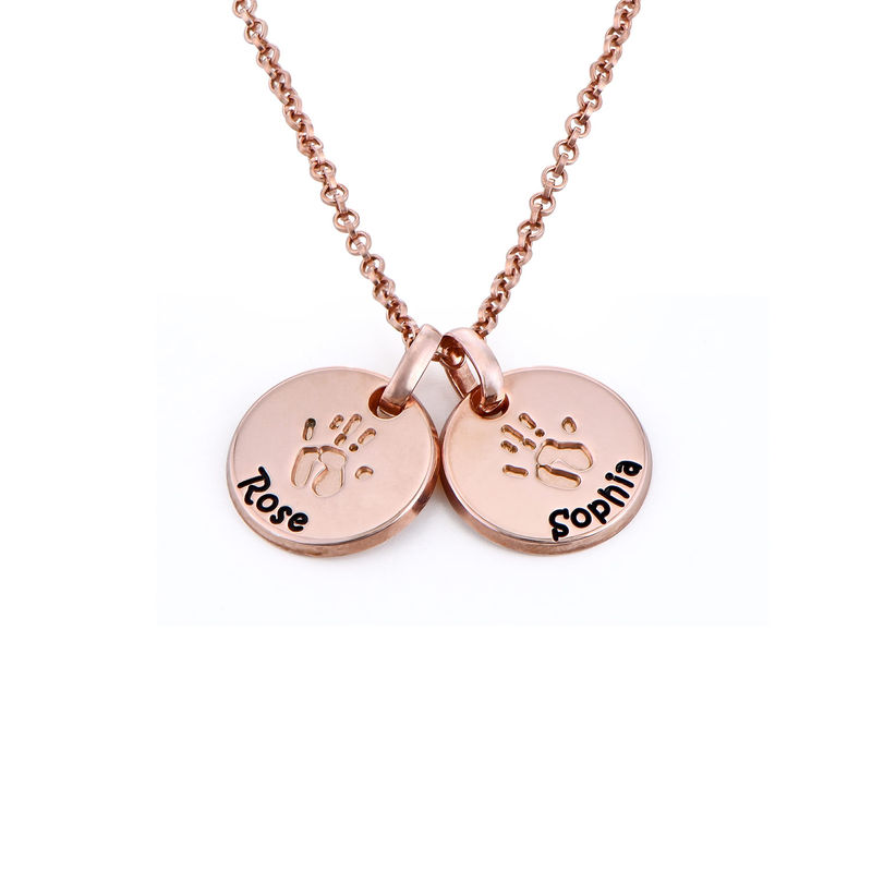 Baby Hand Engraved Charm Necklace in Rose Gold Plating - 1
