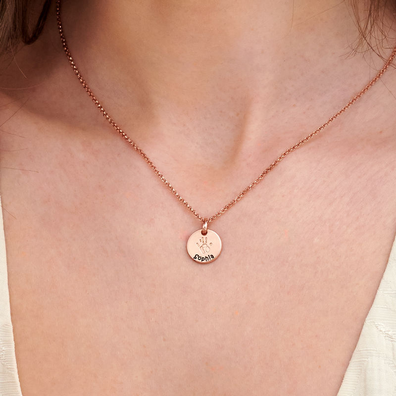 Baby Hand Engraved Charm Necklace in Rose Gold Plating - 3