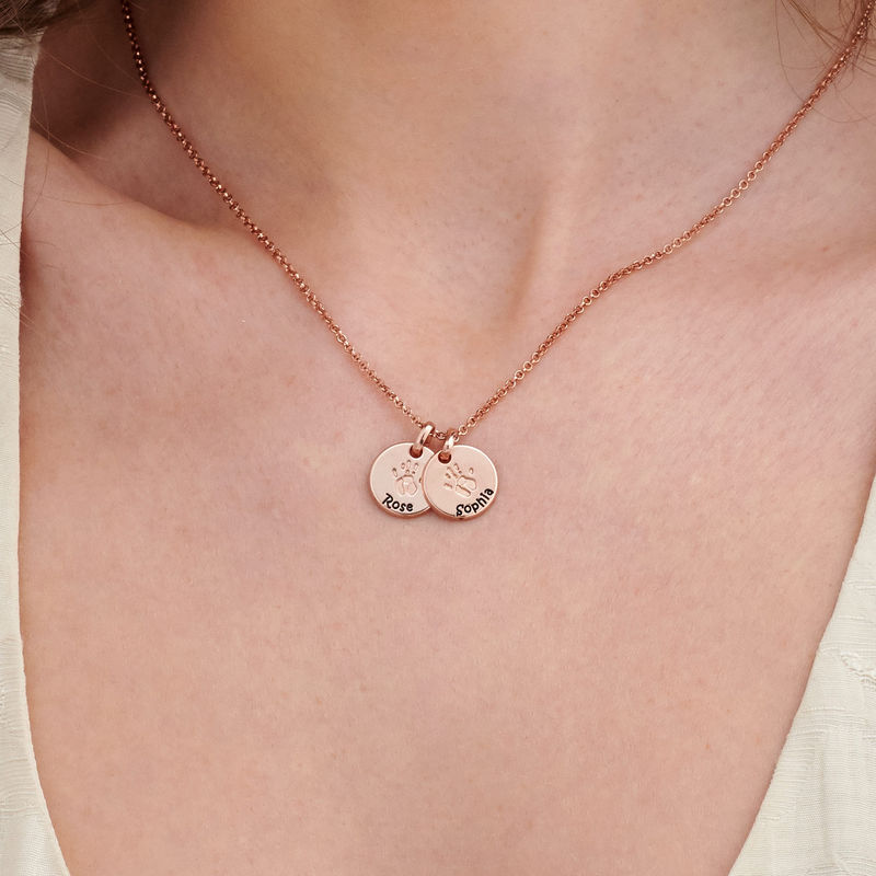 Baby Hand Engraved Charm Necklace in Rose Gold Plating - 4