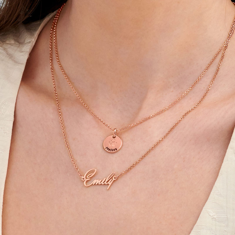 Baby Hand Engraved Charm Necklace in Rose Gold Plating - 5